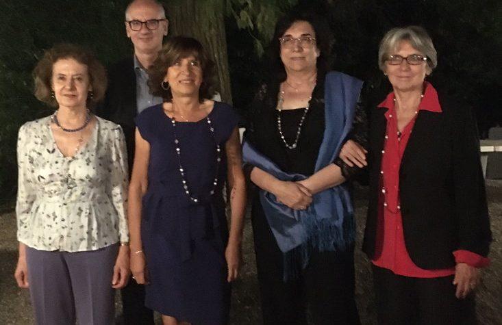 Il saluto del preside Campanini, delle prof Greci, Gherri e Gazza, e dell'impiegata Stefania